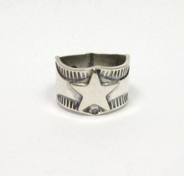 Image 1 of Sunshine Reeves Navajo Native American Sterling Silver Star Ring sz8-1/2
