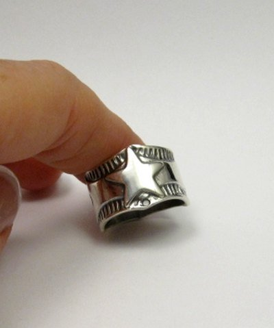 Image 0 of Sunshine Reeves Navajo Native American Sterling Silver Star Ring sz8-1/2