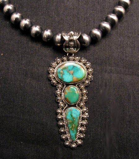 Image 0 of Native American Royston Turquoise Silver Pendant, Happy Piasso