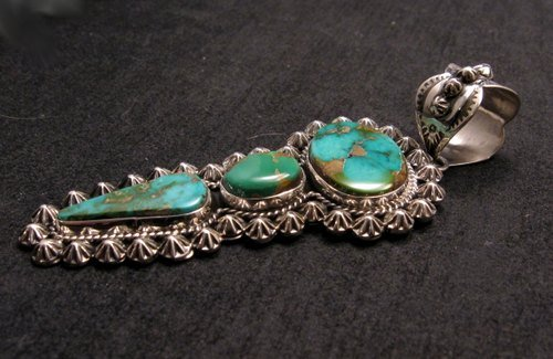 Image 2 of Native American Royston Turquoise Silver Pendant, Happy Piasso