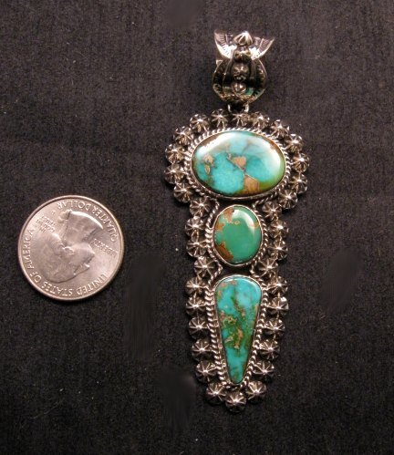 Image 3 of Native American Royston Turquoise Silver Pendant, Happy Piasso