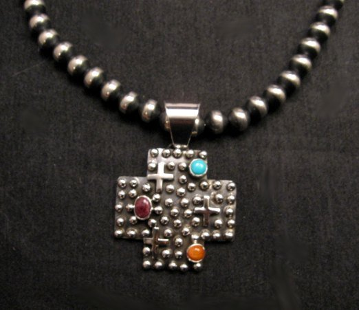Image 1 of Native American Silver Multi Gemstone Cross Pendant by Geneva Apachito
