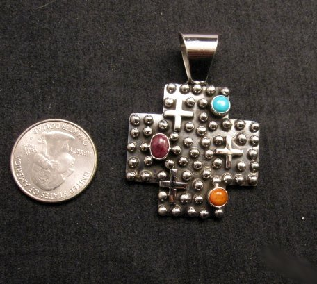 Image 3 of Native American Silver Multi Gemstone Cross Pendant by Geneva Apachito