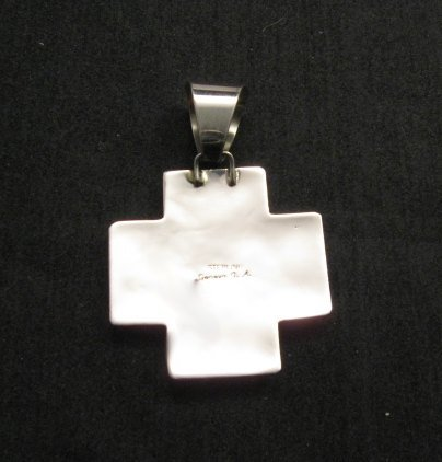 Image 4 of Native American Silver Multi Gemstone Cross Pendant by Geneva Apachito