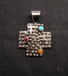 Native American Silver Multi Gemstone Cross Pendant by Geneva Apachito