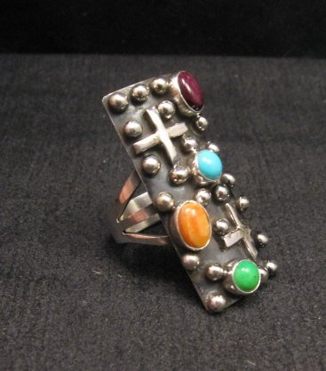 Image 1 of Native American Silver Multi Gemstone Cross Ring sz8 by Geneva Apachito