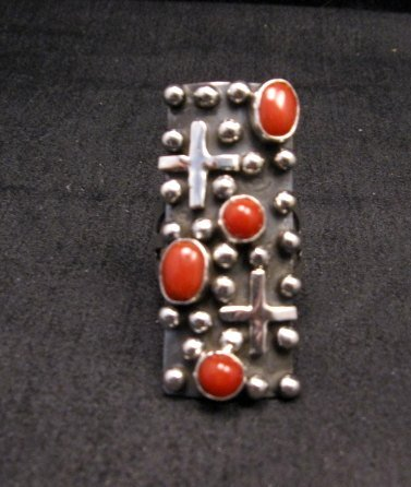 Image 0 of Native American Navajo Coral Silver Cross Ring sz7-1/2, Geneva Apachito