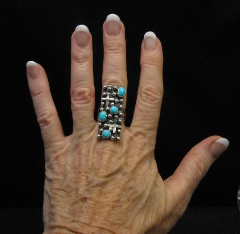 Image 2 of Native American Navajo Turquoise Silver Cross Ring sz8-1/2, Geneva Apachito