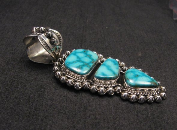 Image 1 of Native American Navajo Kingman Turquoise Silver Pendant, Happy Piasso