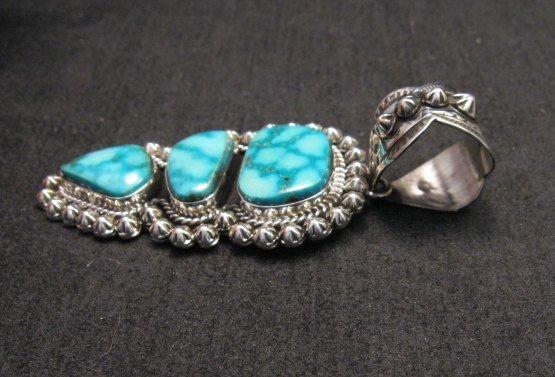 Image 2 of Native American Navajo Kingman Turquoise Silver Pendant, Happy Piasso
