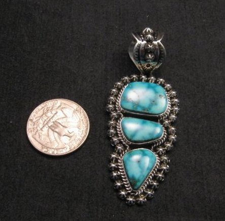 Image 3 of Native American Navajo Kingman Turquoise Silver Pendant, Happy Piasso