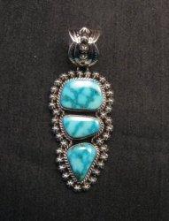 Native American Navajo Kingman Turquoise Silver Pendant, Happy Piasso