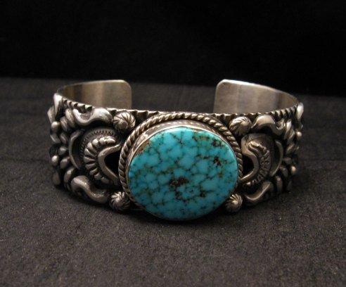 Image 0 of Darryl Becenti, Navajo Kingman Birdseye Turquoise Silver Bracelet