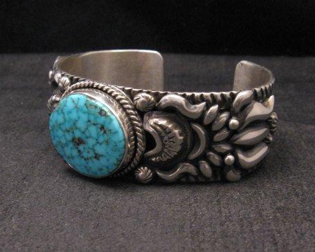Image 1 of Darryl Becenti, Navajo Kingman Birdseye Turquoise Silver Bracelet
