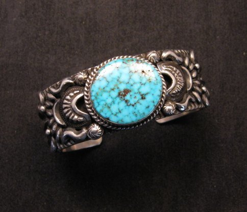 Image 2 of Darryl Becenti, Navajo Kingman Birdseye Turquoise Silver Bracelet