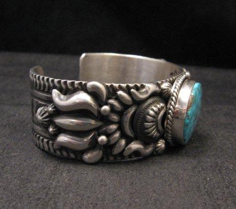 Image 3 of Darryl Becenti, Navajo Kingman Birdseye Turquoise Silver Bracelet