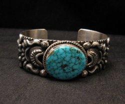 Darryl Becenti, Navajo Kingman Birdseye Turquoise Silver Bracelet