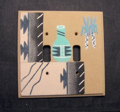 Image 0 of Navajo Sandpainted Double Toggle Switchplate Cover Plate Native American