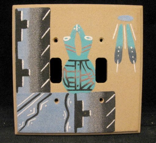Image 0 of Native American Navajo Sandpainted Double Toggle Switchplate Cover Plate