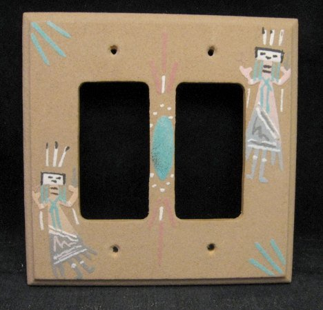 Image 0 of Native American Navajo Sandpainted Double Rocker Switchplate Cover Plate