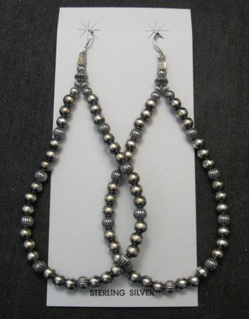 Image 0 of Super-Long Desert Pearls Mixed Sterling Silver Bead Earrings, Made in New Mexico