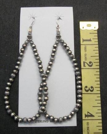 Image 1 of Super-Long Desert Pearls Mixed Sterling Silver Bead Earrings, Made in New Mexico