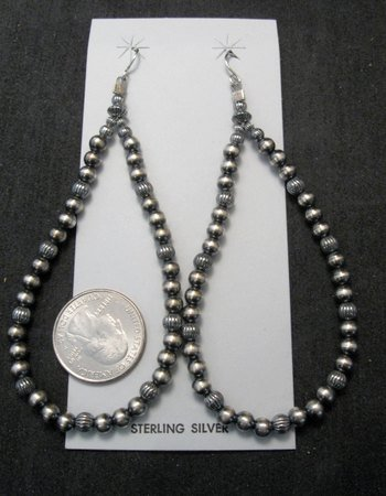 Image 3 of Super-Long Desert Pearls Mixed Sterling Silver Bead Earrings, Made in New Mexico