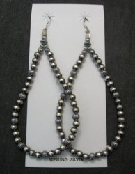 Super-Long Desert Pearls Mixed Sterling Silver Bead Earrings, Made in New Mexico