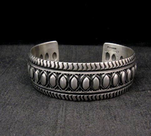 Image 0 of Darryl Becenti Navajo Native American Repousse Sterling Silver Cuff Bracelet