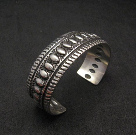 Image 1 of Darryl Becenti Navajo Native American Repousse Sterling Silver Cuff Bracelet