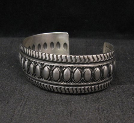 Image 2 of Darryl Becenti Navajo Native American Repousse Sterling Silver Cuff Bracelet