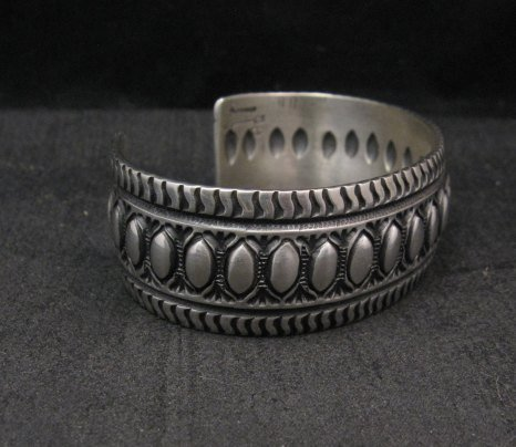 Image 3 of Darryl Becenti Navajo Native American Repousse Sterling Silver Cuff Bracelet