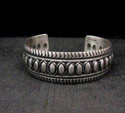 Darryl Becenti Navajo Native American Repousse Sterling Silver Cuff Bracelet