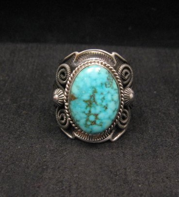 Image 0 of Navajo Andy Cadman Native American Kingman Birdseye Turquoise Ring sz10