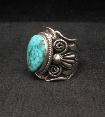 Image 1 of Navajo Andy Cadman Native American Kingman Birdseye Turquoise Ring sz10
