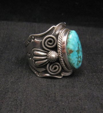 Image 2 of Navajo Andy Cadman Native American Kingman Birdseye Turquoise Ring sz10