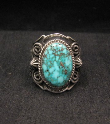 Image 0 of Navajo Native American Turquoise Sterling Silver Ring sz10-1/2, Andy Cadman