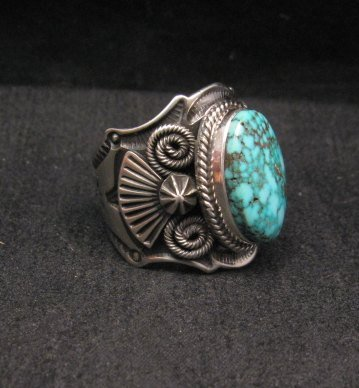 Image 1 of Navajo Native American Turquoise Sterling Silver Ring sz10-1/2, Andy Cadman