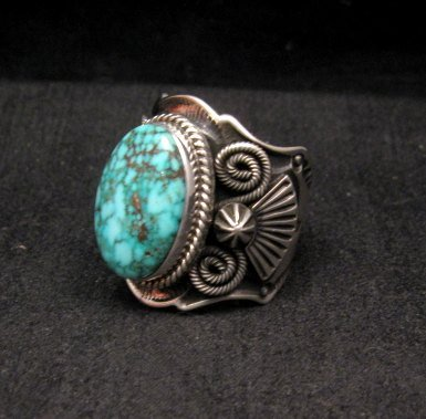 Image 2 of Navajo Native American Turquoise Sterling Silver Ring sz10-1/2, Andy Cadman