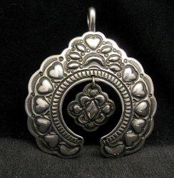 Large Navajo Native American Silver Naja Pendant, Darryl Becenti