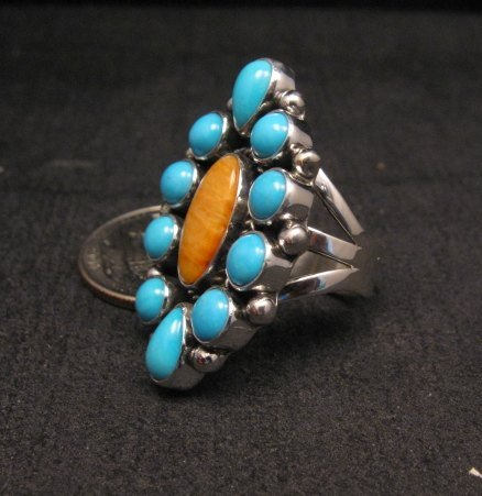 Image 1 of Native American Turquoise Spiny Cluster Silver Ring, La Rose Ganadonegro sz7