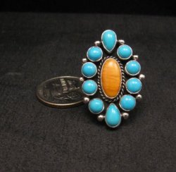 Native American Turquoise Spiny Cluster Silver Ring, La Rose Ganadonegro sz7