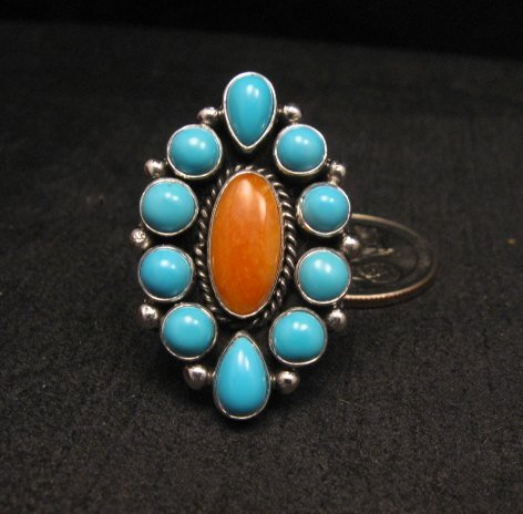Image 0 of Native American Turquoise Spiny Cluster Silver Ring, La Rose Ganadonegro sz6-3/4