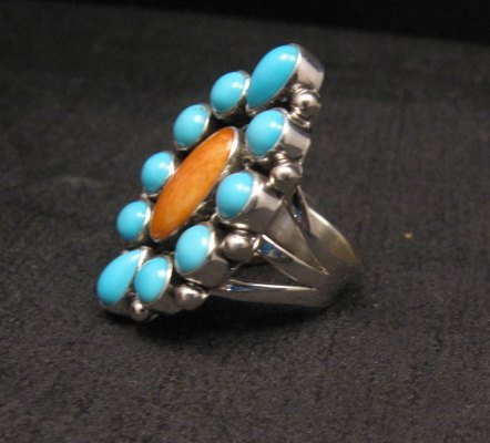 Image 1 of Native American Turquoise Spiny Cluster Silver Ring, La Rose Ganadonegro sz6-3/4