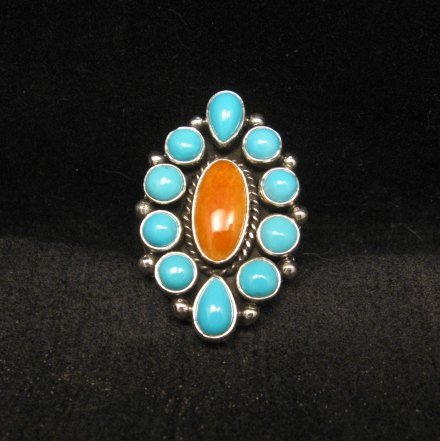 Image 4 of Native American Turquoise Spiny Cluster Silver Ring, La Rose Ganadonegro sz6-3/4