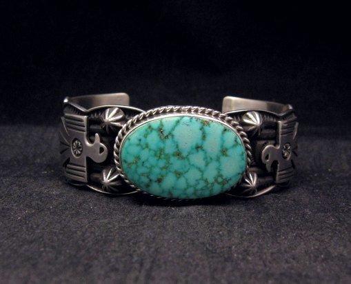 Image 0 of Andy Cadman Navajo Native American Kingman Web Turquoise Thunderbird Bracelet