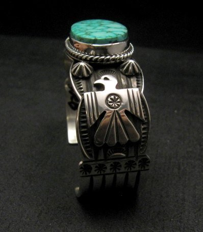 Image 2 of Andy Cadman Navajo Native American Kingman Web Turquoise Thunderbird Bracelet