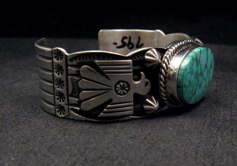 Image 3 of Andy Cadman Navajo Native American Kingman Web Turquoise Thunderbird Bracelet