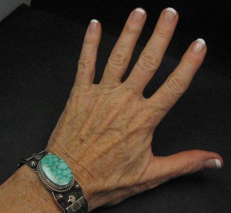 Image 5 of Andy Cadman Navajo Native American Kingman Web Turquoise Thunderbird Bracelet