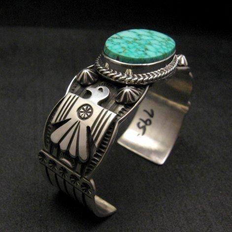 Image 7 of Andy Cadman Navajo Native American Kingman Web Turquoise Thunderbird Bracelet